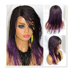 Purple braided lace front wig, micro braids long